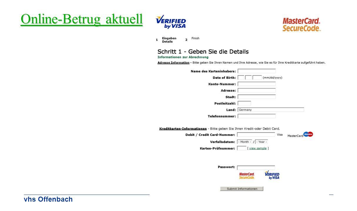 Online-Betrug aktuell