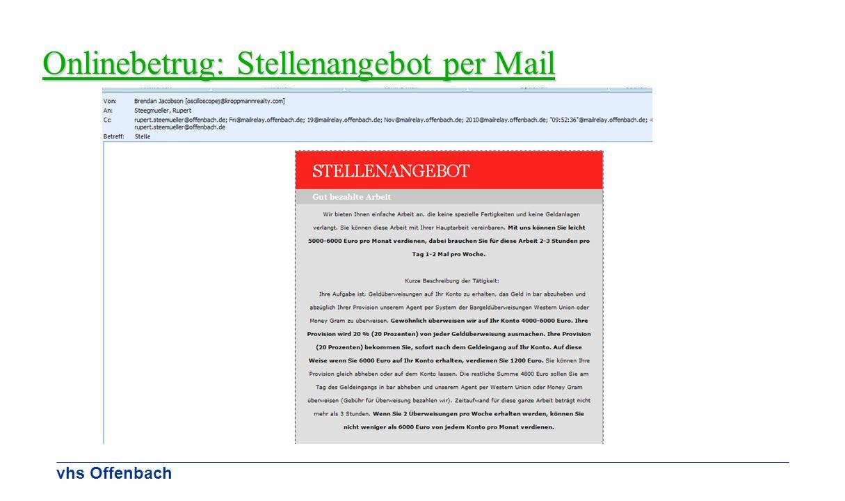 Onlinebetrug: Stellenangebot per Mail