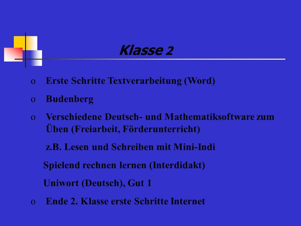 Klasse 2 Erste Schritte Textverarbeitung (Word) Budenberg