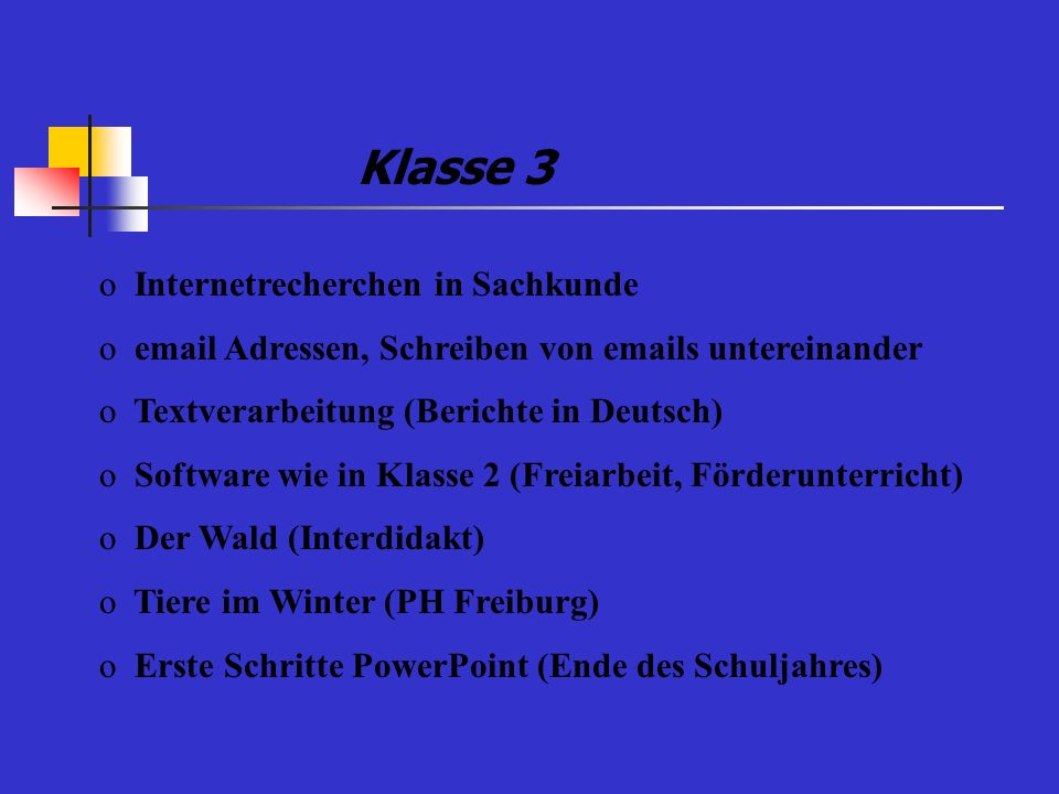 Klasse 3 Internetrecherchen in Sachkunde