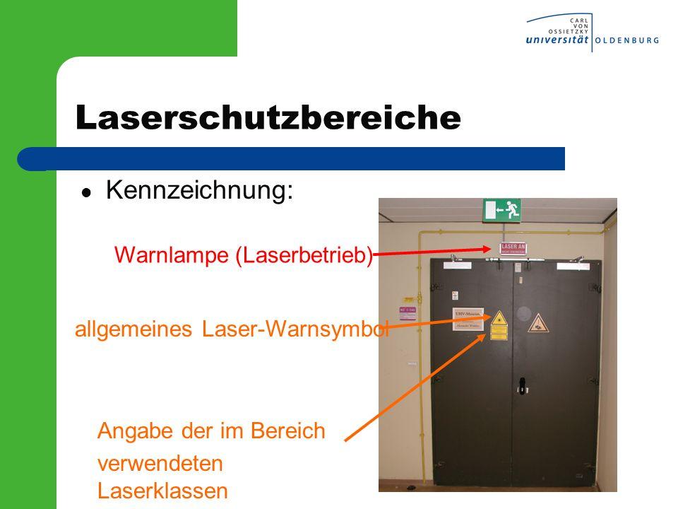 Laserschutzbereiche Kennzeichnung: Warnlampe (Laserbetrieb)