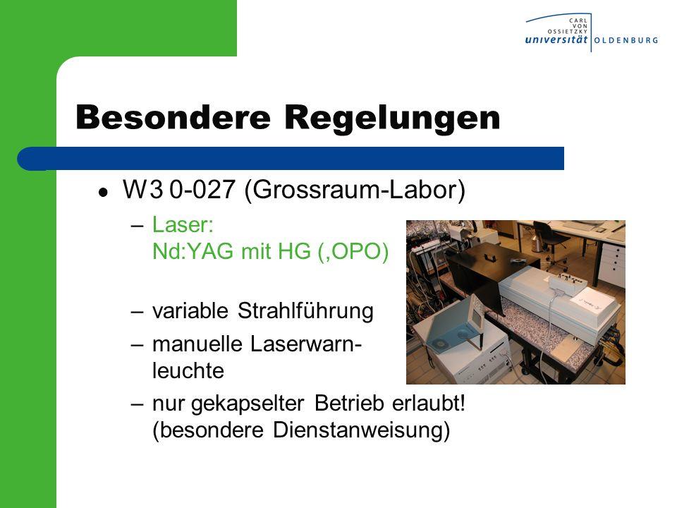 Besondere Regelungen W3 0-027 (Grossraum-Labor)