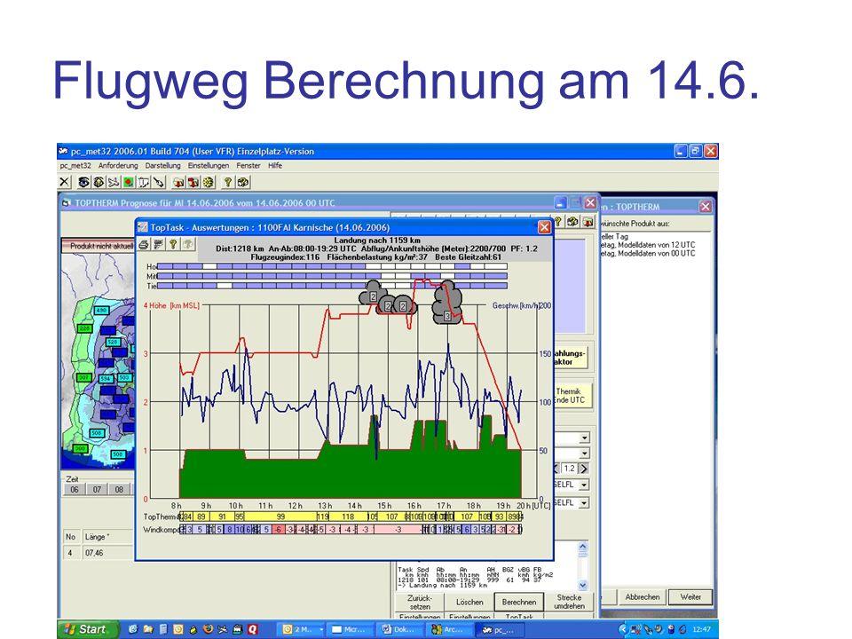 Flugweg Berechnung am 14.6. Grün: Geländehöhe (Gebirge Talgrund )