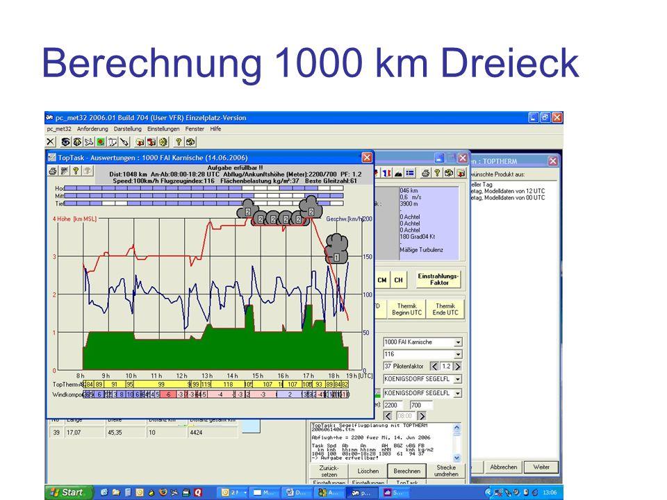 Berechnung 1000 km Dreieck Vergleich etwas verkürzte Wende am Gotthard: Aufgabe erfüllbar!