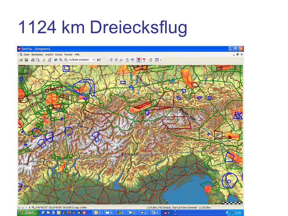 1124 km Dreiecksflug Wende Ljubljana Wende Zermatt