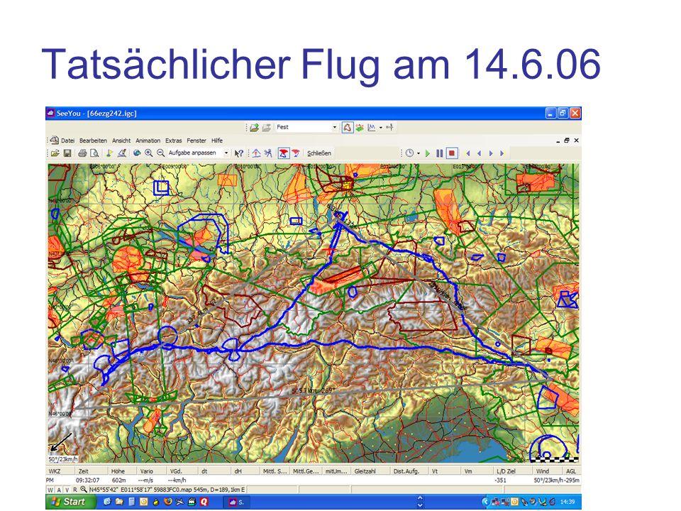 Tatsächlicher Flug am 14.6.06 Abbruch wegen Zeit am Simplon Pass