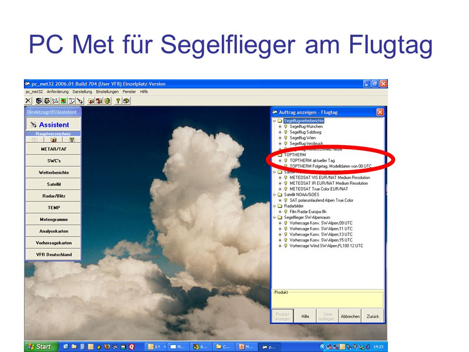 PC Met für Segelflieger am Flugtag