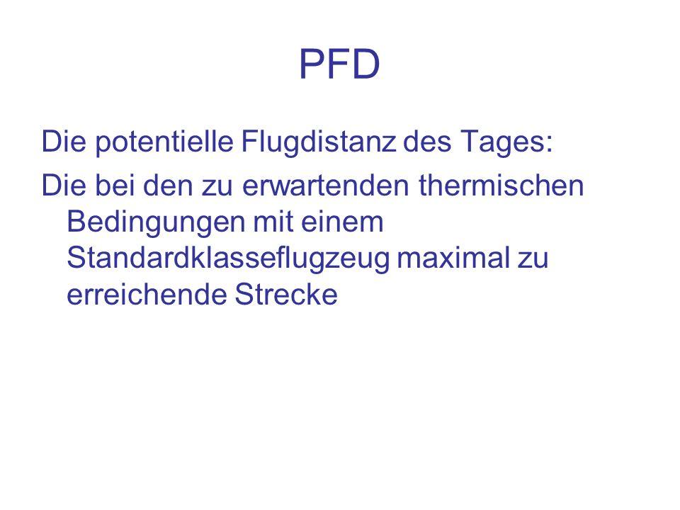 PFD Die potentielle Flugdistanz des Tages: