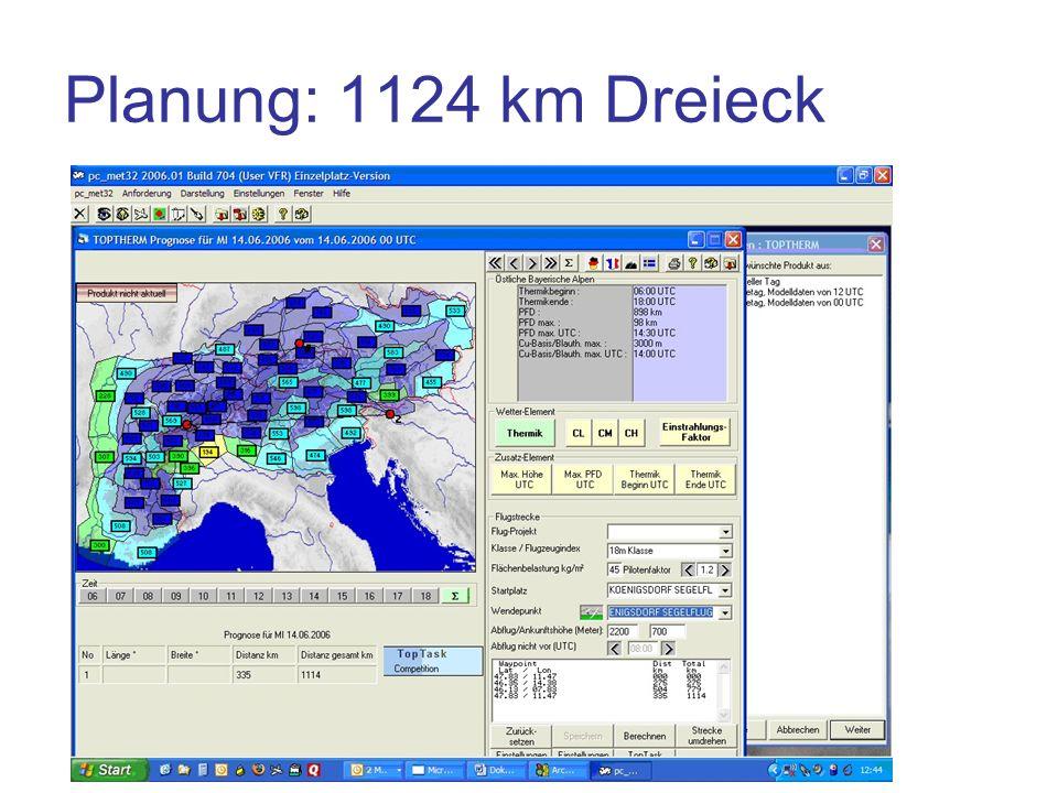 Planung: 1124 km Dreieck Planung über Wendepunkte unrealistisch
