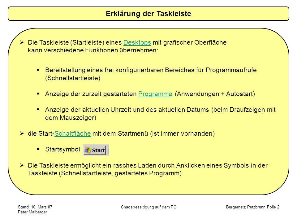 Erklärung der Taskleiste