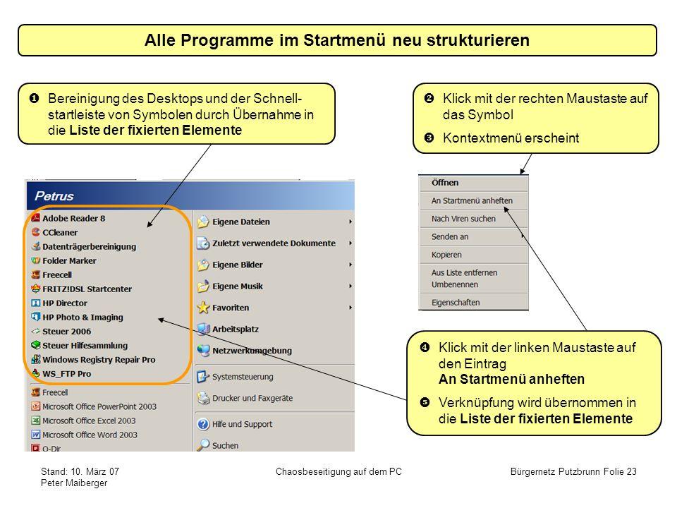 Alle Programme im Startmenü neu strukturieren