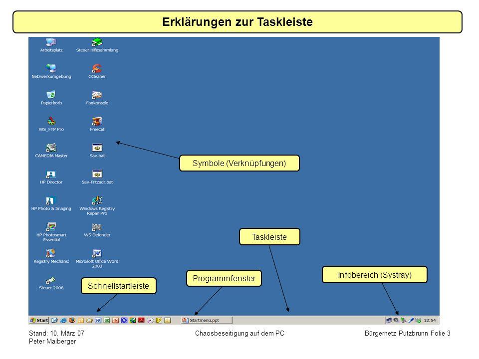 Erklärungen zur Taskleiste