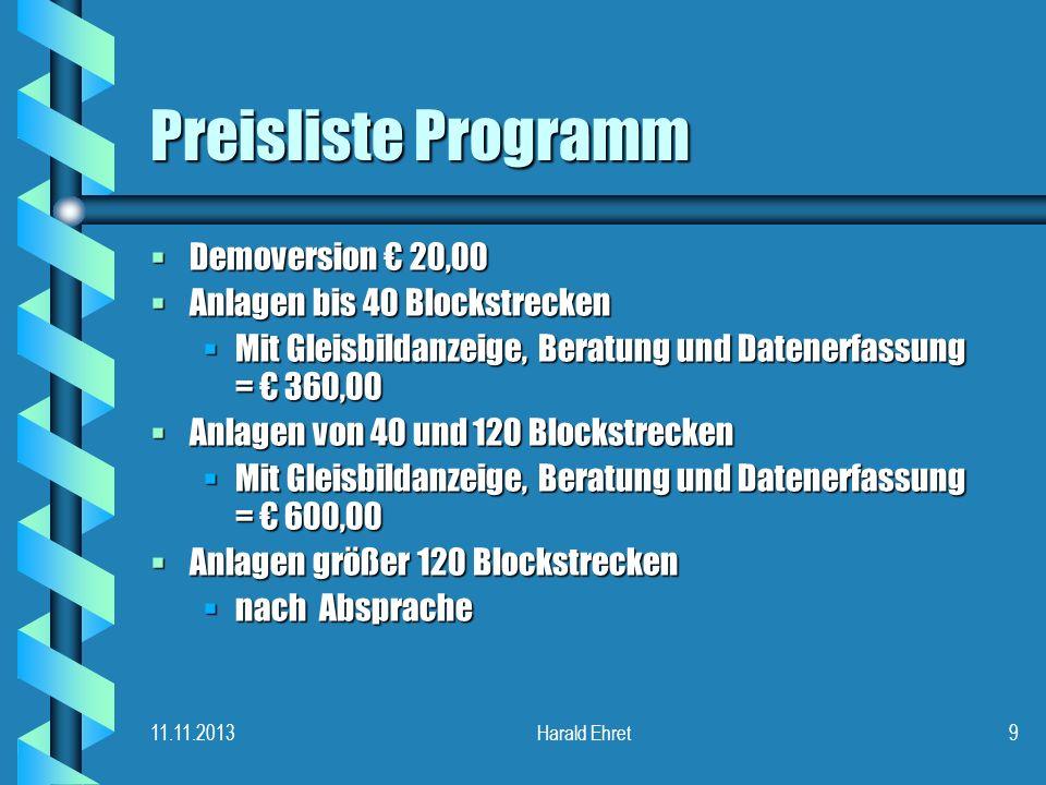 Preisliste Programm Demoversion € 20,00 Anlagen bis 40 Blockstrecken