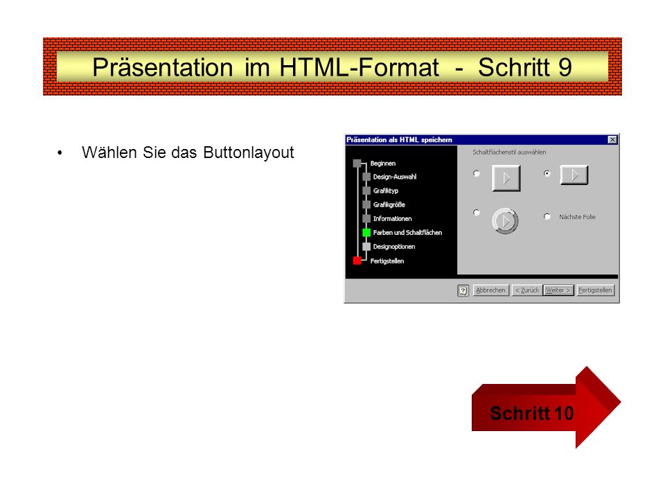 Präsentation im HTML-Format - Schritt 9