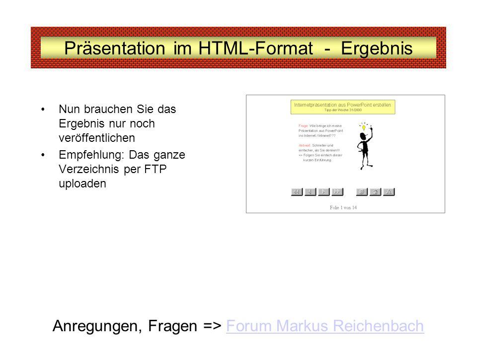 Präsentation im HTML-Format - Ergebnis