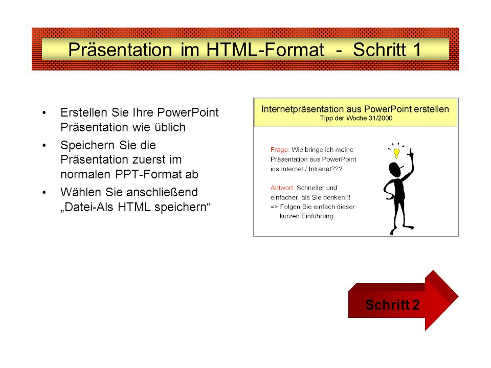 Präsentation im HTML-Format - Schritt 1