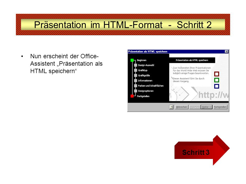 Präsentation im HTML-Format - Schritt 2