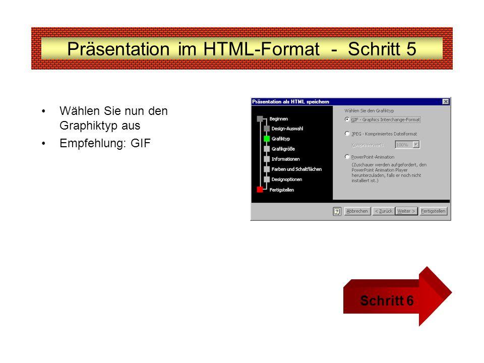 Präsentation im HTML-Format - Schritt 5