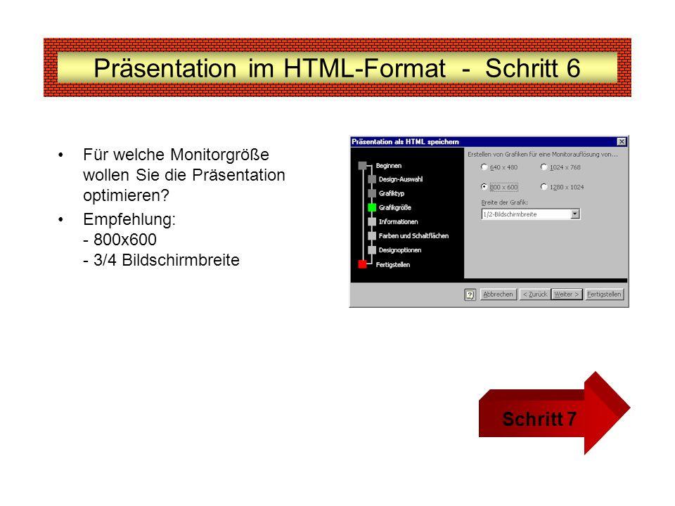 Präsentation im HTML-Format - Schritt 6