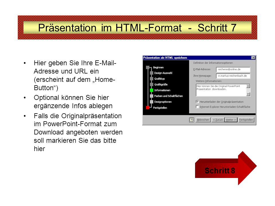 Präsentation im HTML-Format - Schritt 7