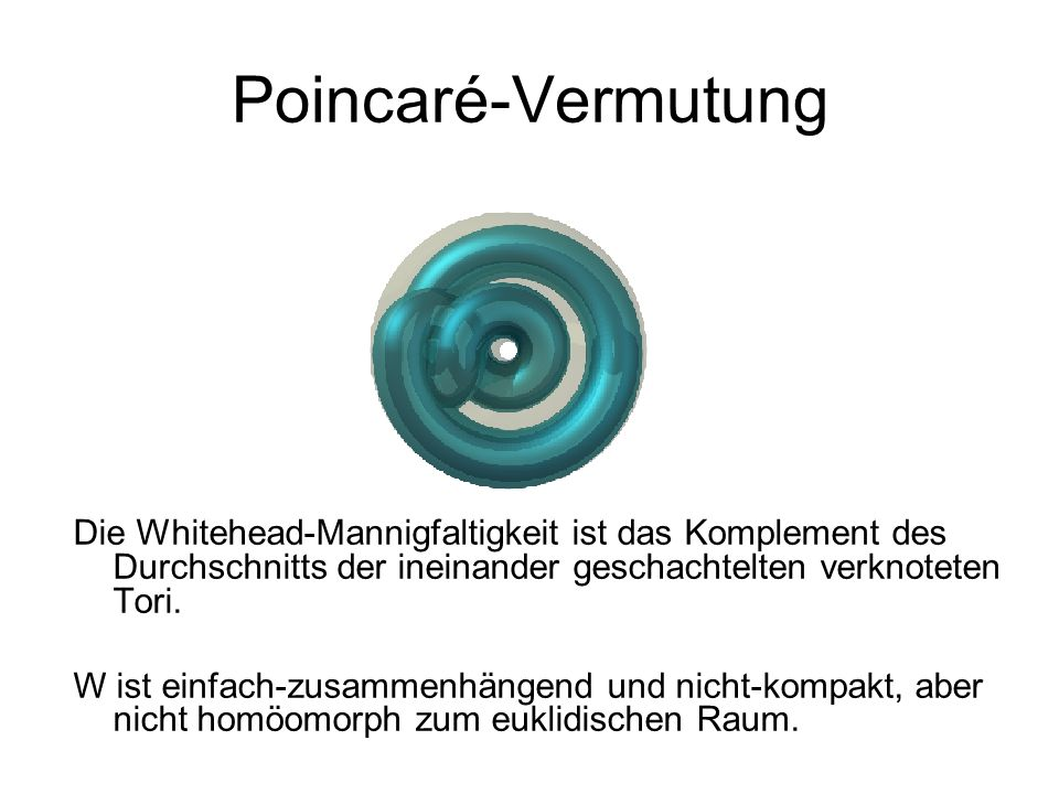 Poincaré-VermutungDie Whitehead-Mannigfaltigkeit ist das Komplement des Durchschnitts der ineinander geschachtelten verknoteten Tori.