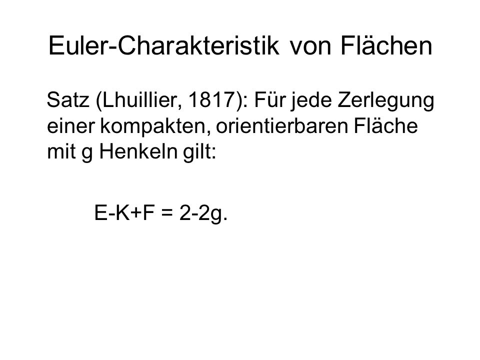 Euler-Charakteristik von Flächen