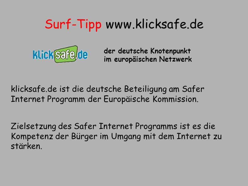 Surf-Tipp www.klicksafe.de