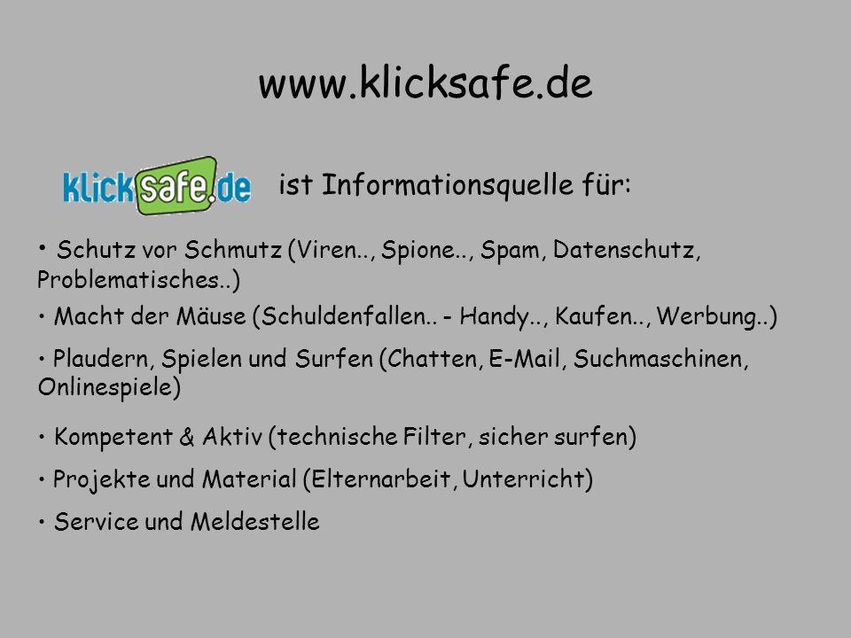 www.klicksafe.de ist Informationsquelle für: