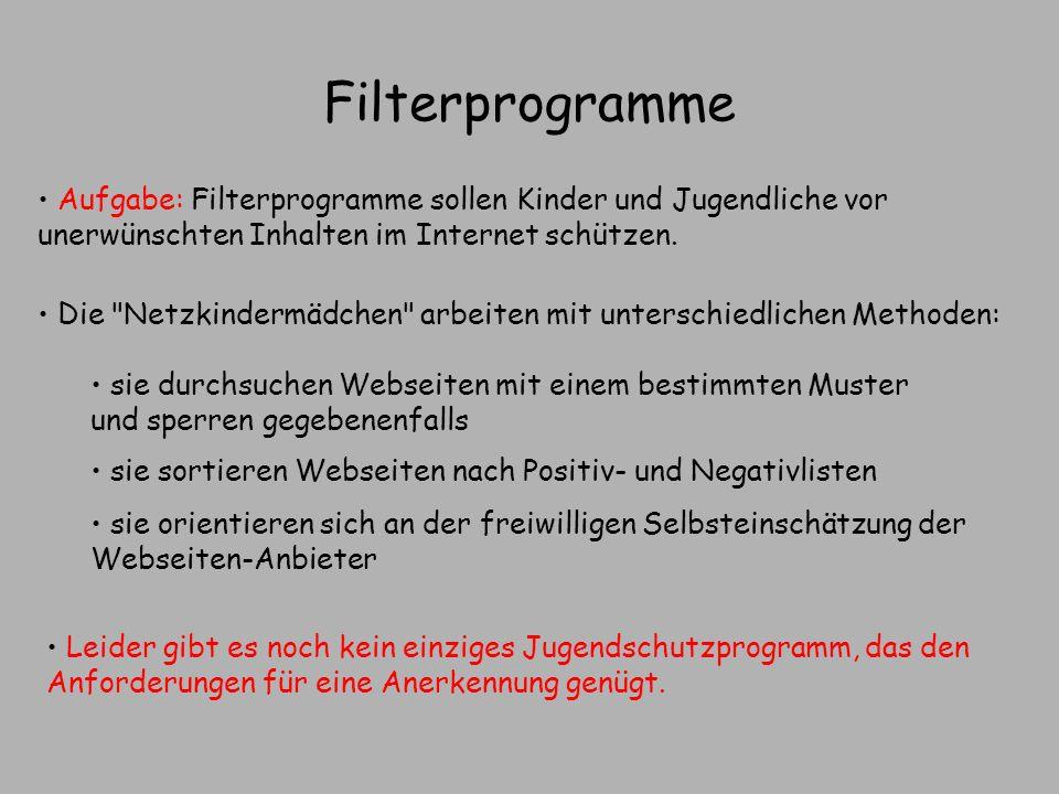 Filterprogramme Aufgabe: Filterprogramme sollen Kinder und Jugendliche vor unerwünschten Inhalten im Internet schützen.