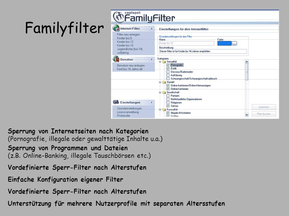 Familyfilter Sperrung von Internetseiten nach Kategorien (Pornografie, illegale oder gewalttätige Inhalte u.a.)