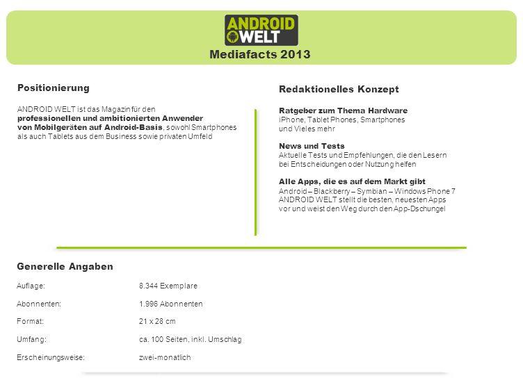 Mediafacts 2013 Positionierung Redaktionelles Konzept