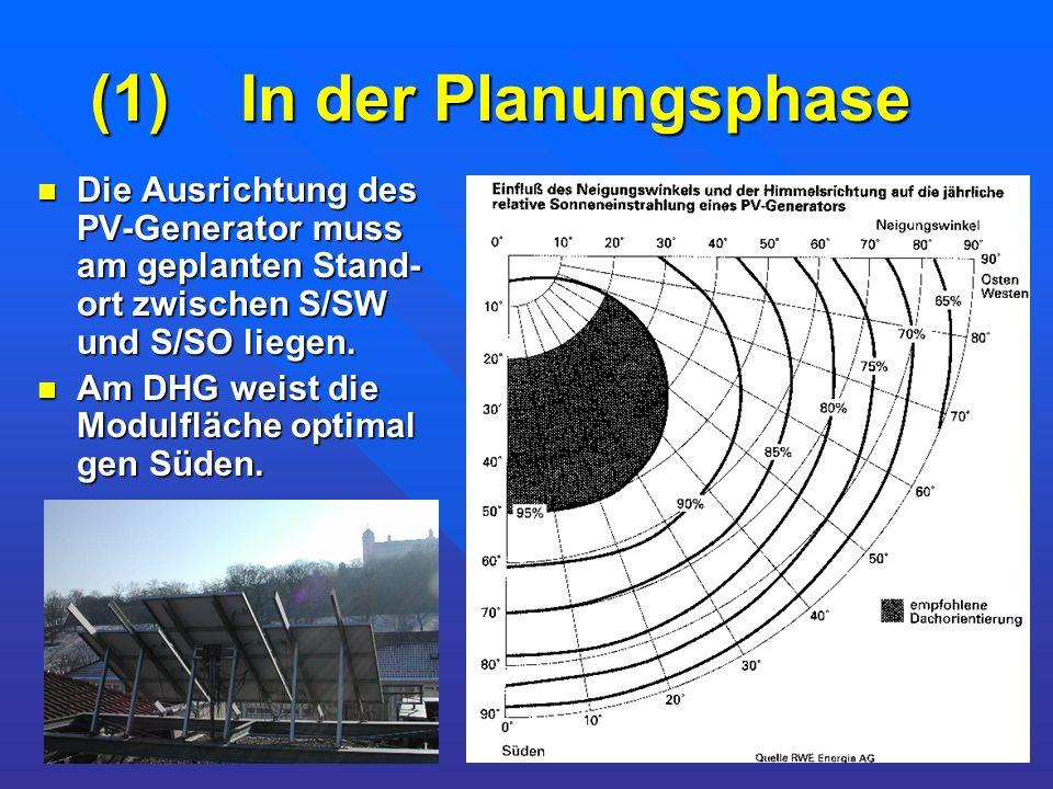 (1) In der Planungsphase