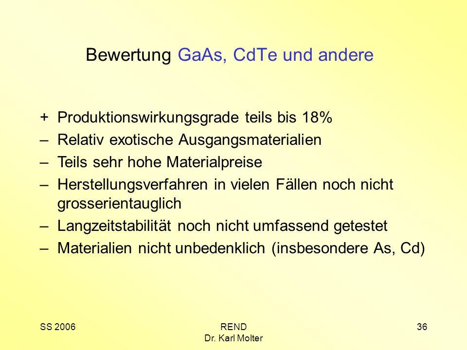 Bewertung GaAs, CdTe und andere