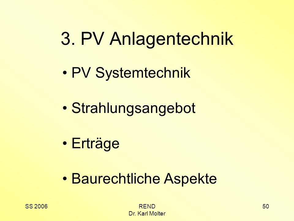 3. PV Anlagentechnik PV Systemtechnik Strahlungsangebot Erträge