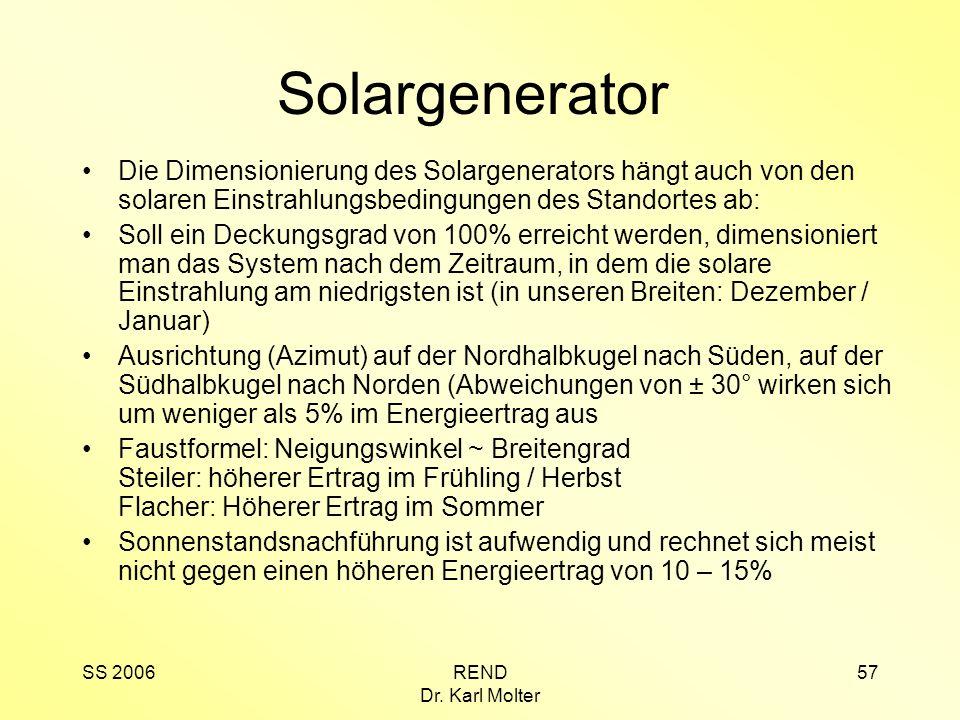 Solargenerator Die Dimensionierung des Solargenerators hängt auch von den solaren Einstrahlungsbedingungen des Standortes ab: