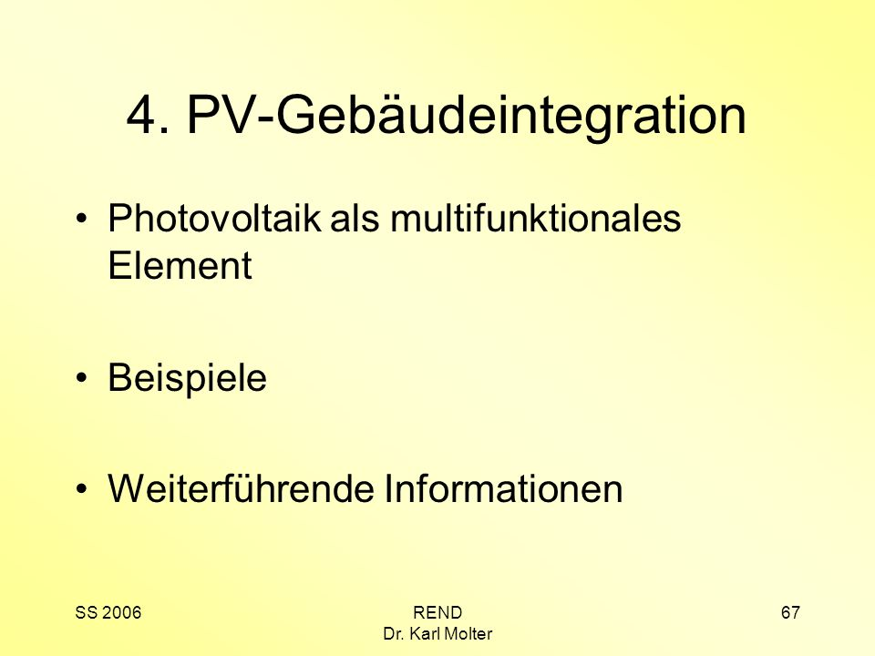 4. PV-Gebäudeintegration