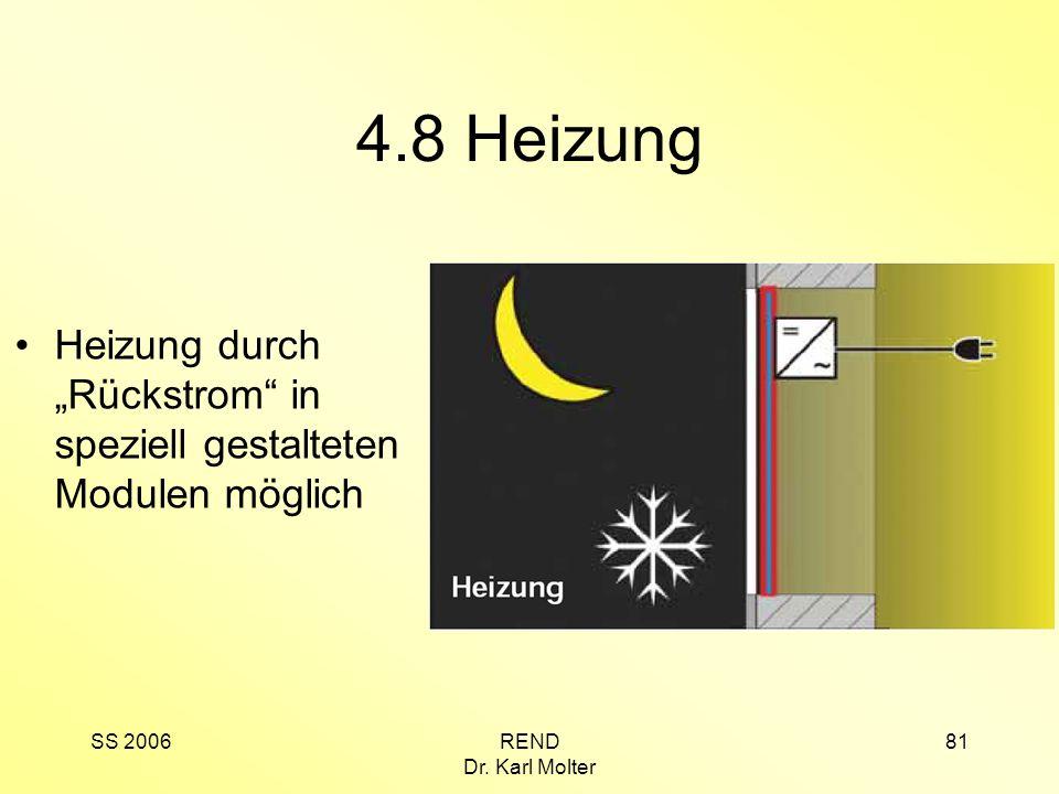 """4.8 Heizung Heizung durch """"Rückstrom in speziell gestalteten Modulen möglich."""