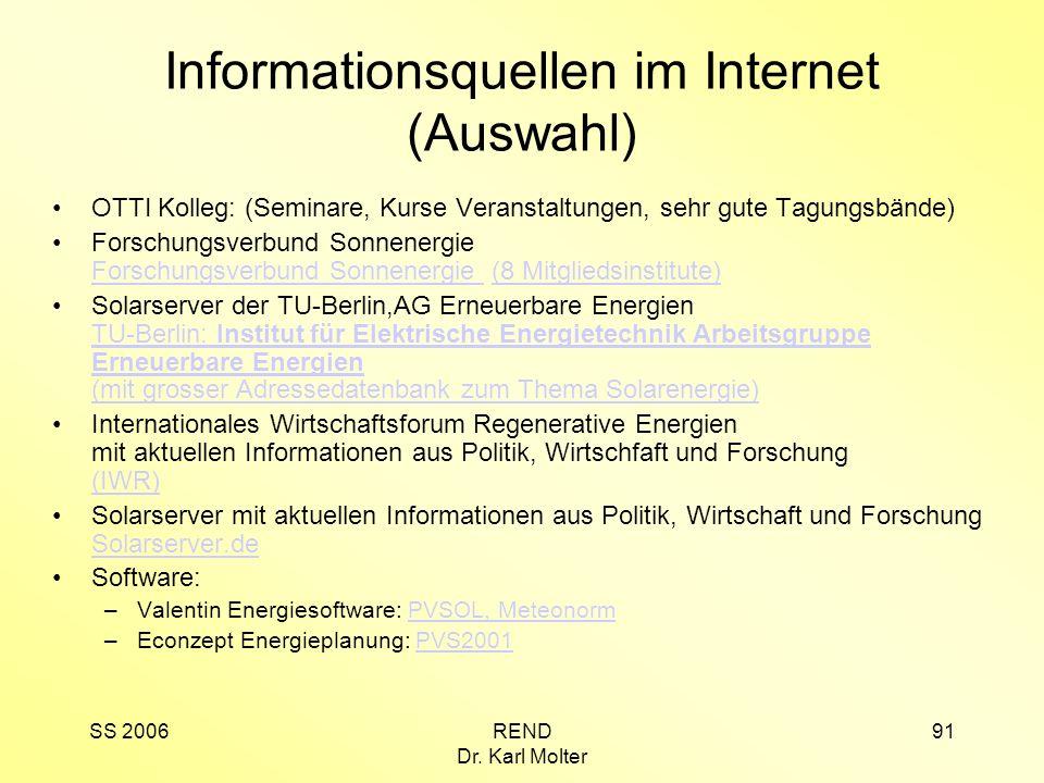 Informationsquellen im Internet (Auswahl)