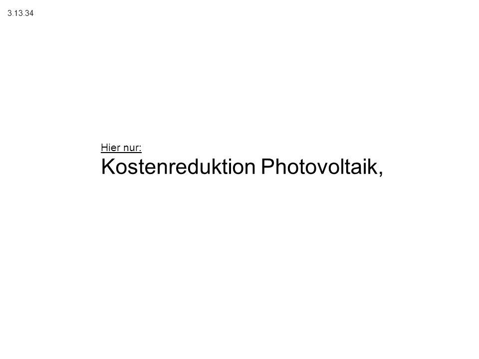 Kostenreduktion Photovoltaik,