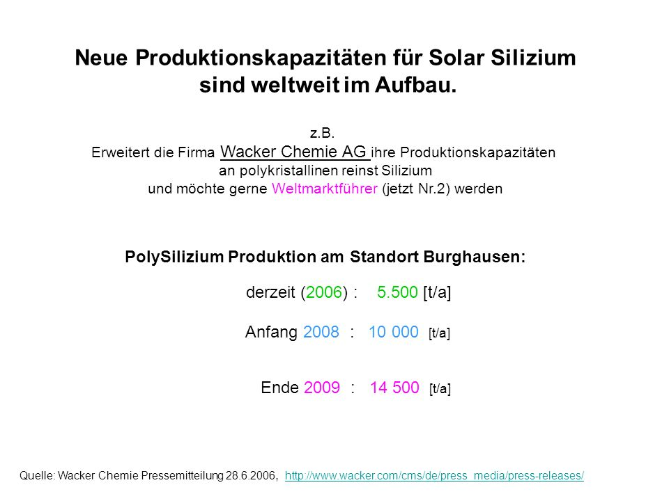 PolySilizium Produktion am Standort Burghausen: