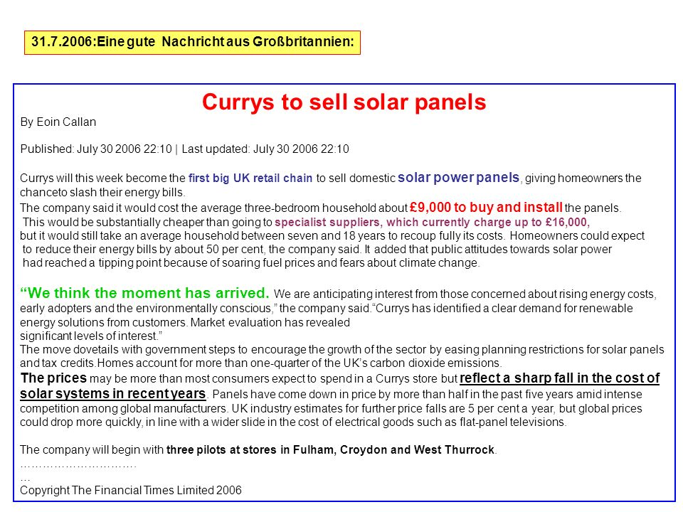 Currys to sell solar panels