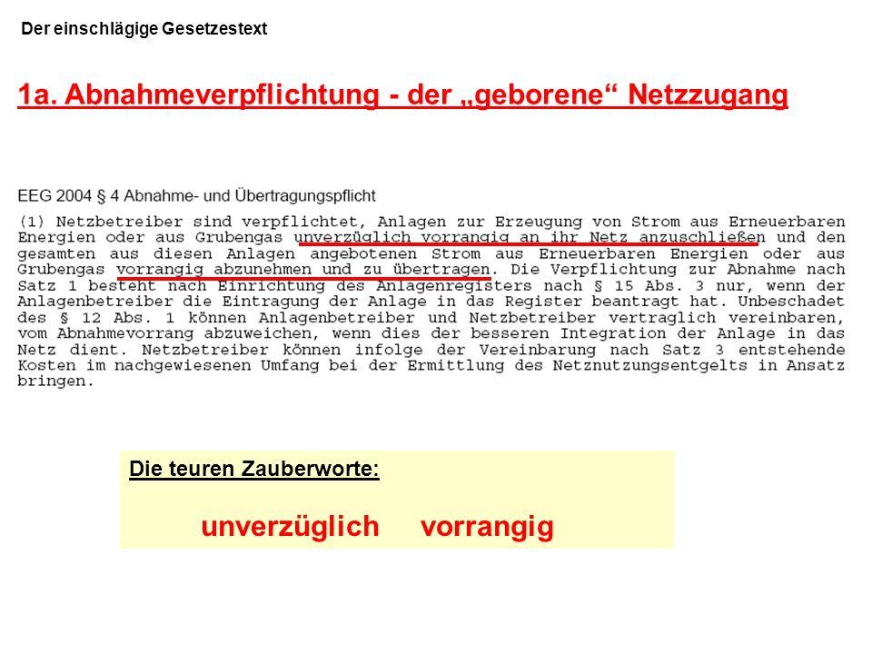"""1a. Abnahmeverpflichtung - der """"geborene Netzzugang"""