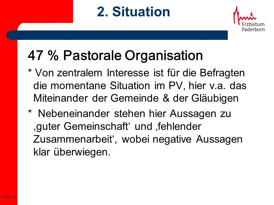 47 % Pastorale Organisation