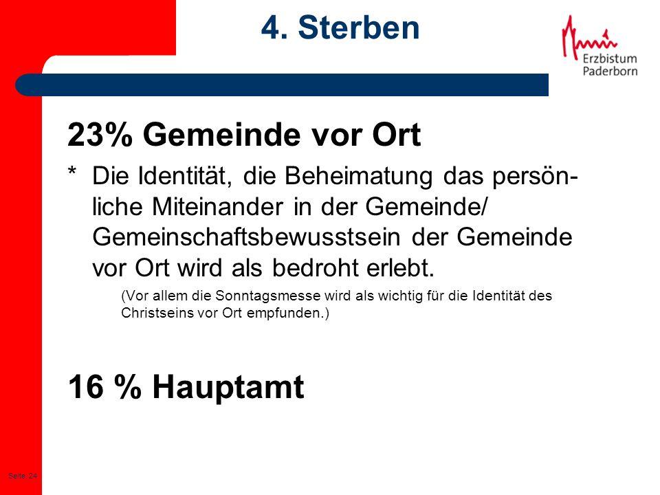 4. Sterben 23% Gemeinde vor Ort 16 % Hauptamt