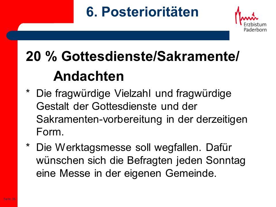 20 % Gottesdienste/Sakramente/ Andachten