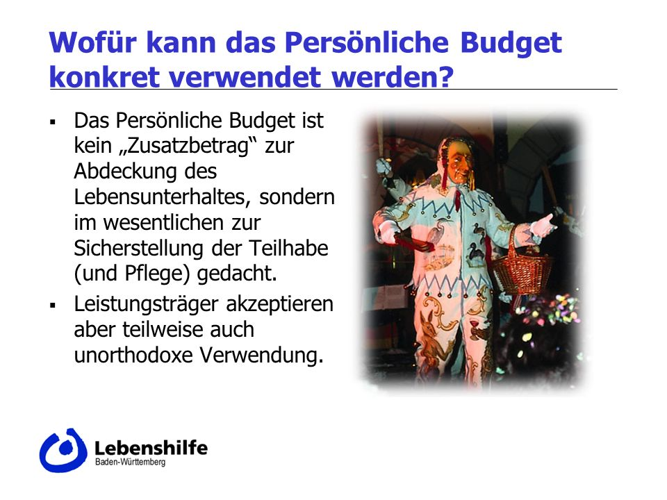 Wofür kann das Persönliche Budget konkret verwendet werden