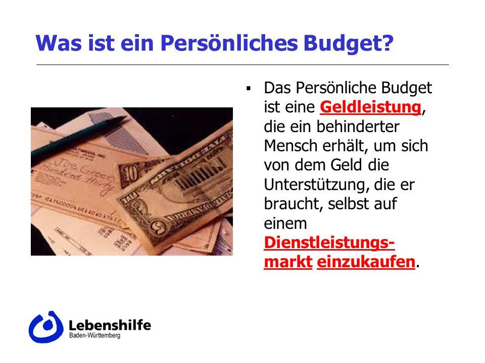 Was ist ein Persönliches Budget