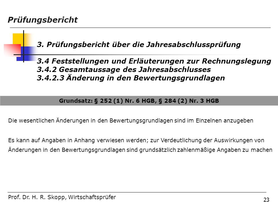 Grundsatz: § 252 (1) Nr. 6 HGB, § 284 (2) Nr. 3 HGB