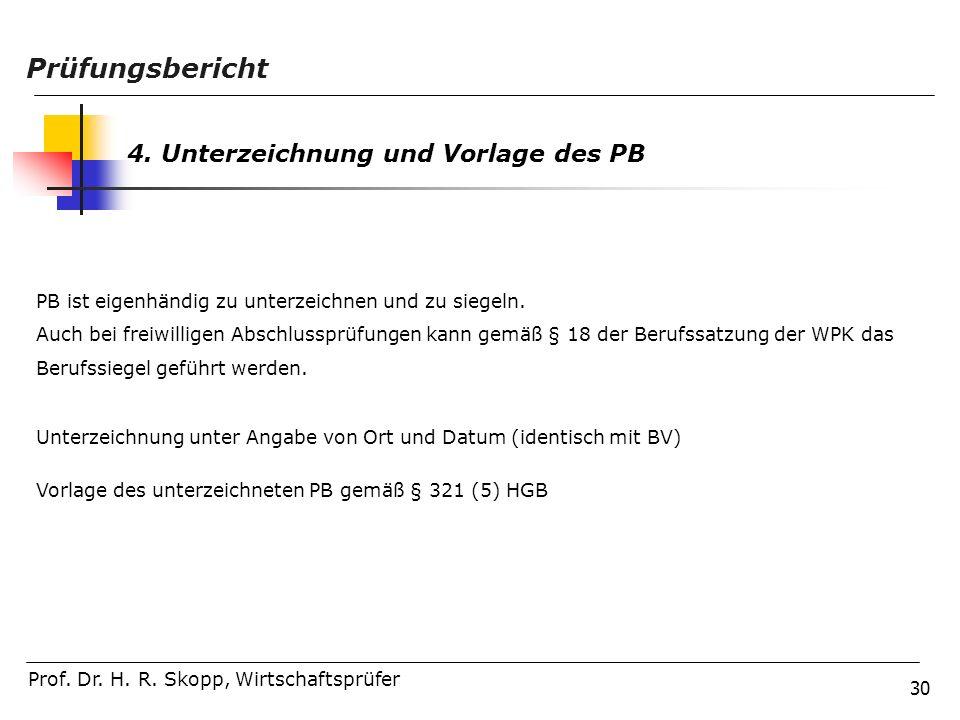 Prüfungsbericht 4. Unterzeichnung und Vorlage des PB