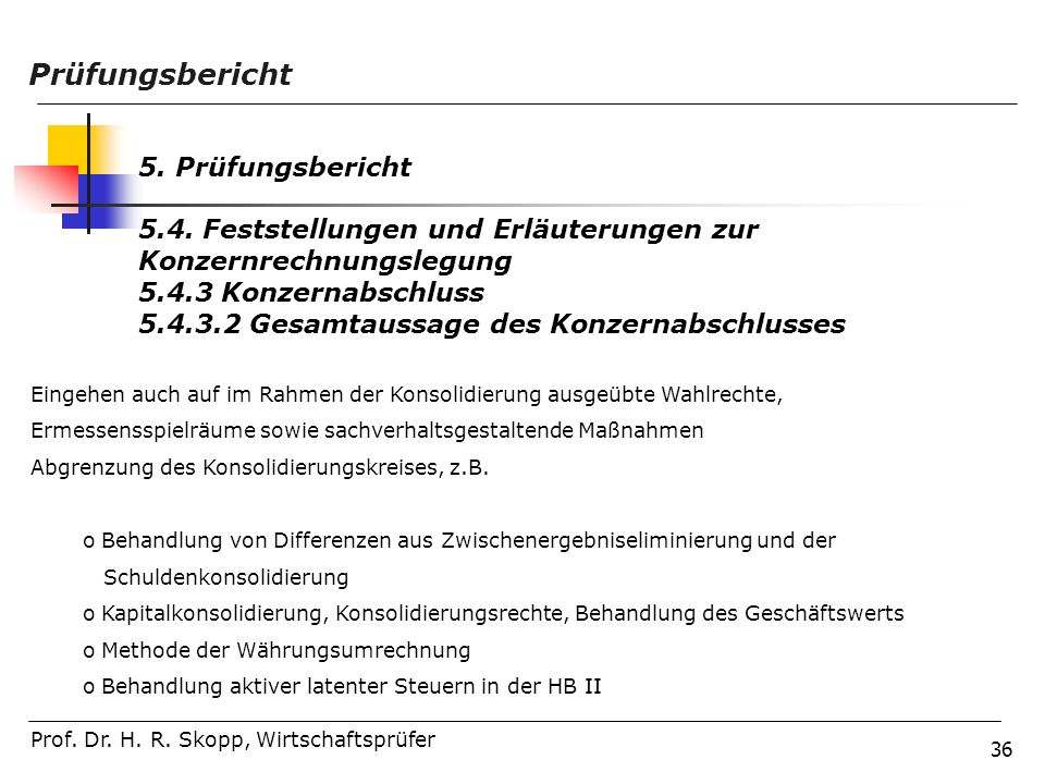 Prüfungsbericht 5. Prüfungsbericht
